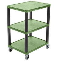 Luxor WT34GS Tuffy Green Three Shelf Utility Cart - 24 inch x 18 inch x 34 inch