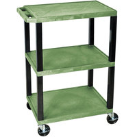 Luxor WT34GS Green 34 inch Three Shelf AV Utility Cart