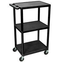 Luxor LPDUOE-B Black 42 inch Adjustable Three Shelf AV Cart with Three Outlets and Cord