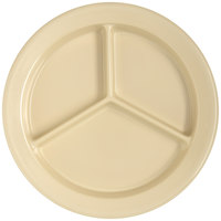Carlisle 4351625 Dallas Ware 9 inch Tan Melamine 3-Compartment Plate   - 24/Case