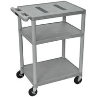 Luxor / H. Wilson LE34-G Gray Endura 34 inch Three Shelf AV Cart with Three Outlets