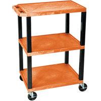 Luxor / H. Wilson WT34ORS Orange 34 inch Three Shelf AV Utility Cart