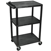 Luxor LP42E-B Black 42 inch Three Shelf AV Cart with Three Outlets and Cord