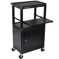 Luxor LT45C-B 3-Shelf Heavy Duty AV Cart with Steel Locking Cabinet - 15 3/4 inch x 24 inch x 44 1/4 inch