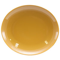 Homer Laughlin 13249518 Bosque Goldenrod 12 inch x 10 5/8 inch Oval Platter - 12/Case