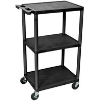 Luxor LP42-B Black 42 inch Three Shelf AV Cart