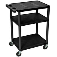 Luxor LE34-B Black Endura 34 inch Three Shelf AV Cart with Three Outlets