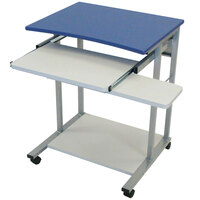 Luxor / H. Wilson LCT29 Mobile Computer Desk with Pullout Keyboard - Blue