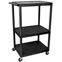 Luxor / H. Wilson LE54-B Black Endura 54 inch Three Shelf AV Cart with Three Outlets