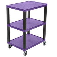 Luxor WT34PS Tuffy Purple Three Shelf Utility Cart - 24 inch x 18 inch x 34 inch