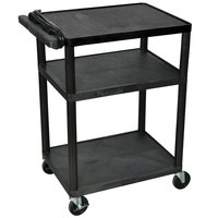 Luxor LP34E-B Black 34 inch Three Shelf AV Cart with Three Outlets and Cord