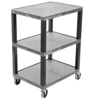 Luxor WT34GYS Tuffy Gray Three Shelf Utility Cart - 24 inch x 18 inch x 34 inch