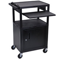 Luxor LP42CLE-B 3-Shelf Plastic AV Cart with Steel Locking Cabinet - 24 inch x 18 inch x 42 inch