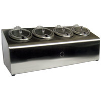 Steril-Sil LTC-4SW 4-Compartment Stainless Steel Condiment Dispenser with 30 oz. Containers