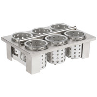 Steril-Sil E1-BS60E-SS Stainless Steel Drop-In Silverware Cylinder Holder with 6 Cylinders