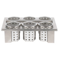 Steril-Sil E1-BS-6OE-W Stainless Steel Drop-In Silverware Cylinder Holder with 6 Cylinders