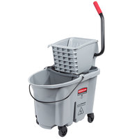 Rubbermaid 1863897 Gray 35 Qt. Executive Series WaveBrake® Side Press Mop Bucket