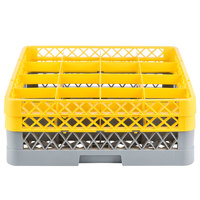Noble Products 16-Compartment Gray Full-Size Glass Rack with 2 Yellow Extenders - 19 3/8 inch x 19 3/8 inch x 7 1/4 inch