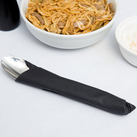 Black Flat Pack Linen-Like Napkin, 16 inch x 16 inch - Hoffmaster 125070 - 500/Case