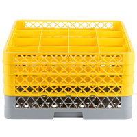 Noble Products 16-Compartment Gray Full-Size Glass Rack with 4 Yellow Extenders - 19 3/8 inch x 19 3/8 inch x 10 1/2 inch