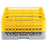 Noble Products 16-Compartment Gray Full-Size Glass Rack with 3 Yellow Extenders - 19 3/8 inch x 19 3/8 inch x 8 3/4 inch