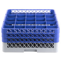 Noble Products 25-Compartment Gray Full-Size Glass Rack with 3 Blue Extenders - 19 3/8 inch x 19 3/8 inch x 8 3/4 inch