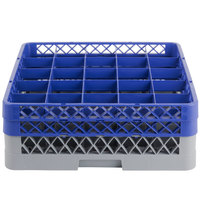 Noble Products 25-Compartment Gray Full-Size Glass Rack with 2 Blue Extenders - 19 3/8 inch x 19 3/8 inch x 7 1/4 inch