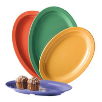 GET OP-610-MIX Creative Table 10 inch x 6 3/4 inch Oval Platter, Assorted Colors - 24/Case