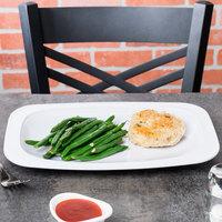 GET OP-116-W Sicilano Dinnerware 12 1/2 inch x 8 1/4 inch White Oval Platter with Round Corners - 12/Case