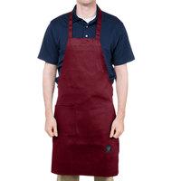 Chef Revival 601BAC-BG Customizable Full-Length Burgundy Bib Apron - 34 inchL x 28 inchW
