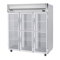 Beverage Air HF3-5HG-LED 3 Section Glass Half Door Reach-In Freezer with LED Lighting - 74 cu. ft., SS Front, Gray Exterior