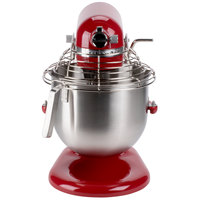 KitchenAid KSMC895ER Empire Red NSF 8 Qt. Bowl Lift Commercial Countertop Mixer with Stainless Steel Bowl Guard - 120V, 1 3/10 hp