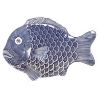 GET 370-14-BL Creative Table 14 inch x 10 inch Blue Fish Platter - 12/Case