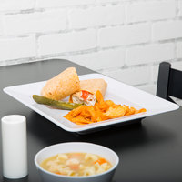 GET ML-11-W Milano 12 inch x 10 inch White Rectangular Plate - 12/Case