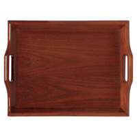 GET RST-2516-M 26 1/2 inch x 16 1/2 inch Hardwood Room Service Tray - Mahogany