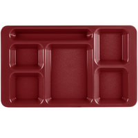 Cambro 1596CW416 Camwear (2 x 2) 9 inch x 15 inch Cranberry Six Compartment Serving Tray   - 24/Case