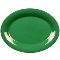 Thunder Group CR213GR 13 1/2 inch x 10 1/2 inch Oval Green Melamine Platter - 12/Pack