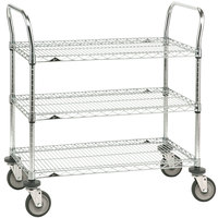 Metro 3SPN33DC Super Erecta Chrome Three Shelf Heavy Duty Utility Cart with Polyurethane Casters - 18 inch x 36 inch x 39 inch