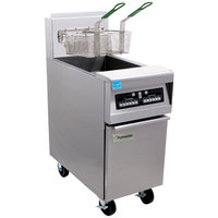 Frymaster PH155-2C Natural Gas High Efficiency Split Pot Fryer 50 lb. with Programmable Computer Controls - 80,000 BTU