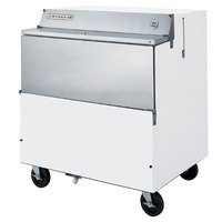 Beverage-Air SMF34Y-1-W-02 34 inch White 1-Sided Forced Air Milk Cooler with Stainless Steel Interior