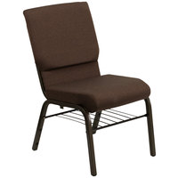 Flash Furniture XU-CH-60096-BN-BAS-GG Dark Brown 18 1/2 inch Wide Church Chair with Communion Cup Book Rack - Gold Vein Frame