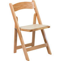 Flash Furniture XF-2903-NAT-WOOD-GG Natural Wood Folding Chair with Padded Seat