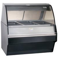 Alto-Shaam TY2SYS-48/P BK Black Heated Display Case with Curved Glass and Base - Self Service 48 inch