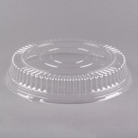 Visions 12 inch Clear PET Plastic Round Catering Tray Low Dome Lid - 5/Pack