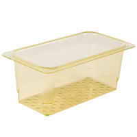 Cambro 35CLRHP150 H-Pan™ 1/3 Size Amber High Heat Plastic Colander Pan - 5 inch Deep