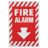 Buckeye Fire Alarm Adhesive Label with Border - Red and White, 13 inch x 8 inch