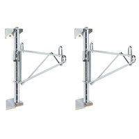 Metro SW51C Super Erecta Chrome Single Level Post-Type Wall Mount End Unit for 24 inch Deep Shelf - 2/Pack