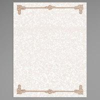 8 1/2 inch x 11 inch Tan Menu Paper - Scroll Border - 100/Pack