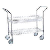 Regency Chrome 1 Shelf and 1 Basket Utility Cart - 18 inch x 36 inch