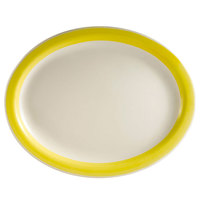 CAC R-13NR-Y Rainbow 11 1/2 inch x 9 inch Yellow Narrow Rim Platter - 12/Case
